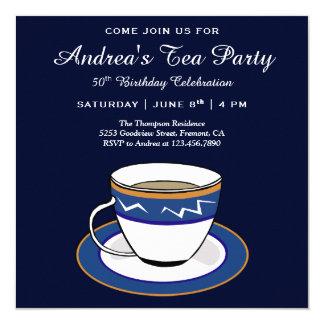 Elegant Simple Tea Cup   Blue Birthday Tea Party Card
