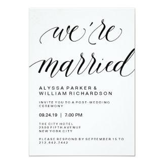 Elegant Simple Typography Post Wedding Ceremony 13 Cm X 18 Cm Invitation Card