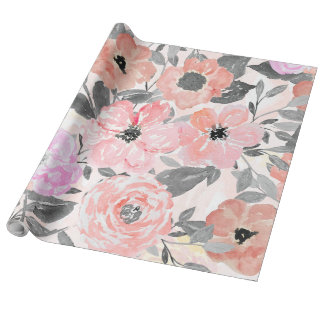 Elegant simple watercolor floral wrapping paper