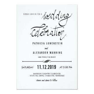 Elegant Simple Wedding Celebration Typography Card