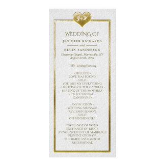 Elegant Simple Wedding Program with Gold Heart Rack Card