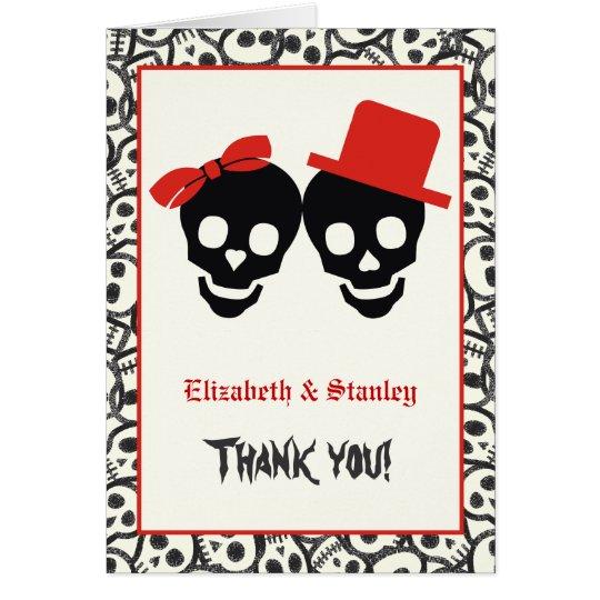 Elegant skulls Halloween red wedding Thank You Card
