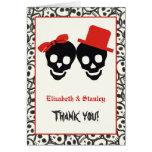 Elegant skulls Halloween red wedding Thank You Note Card