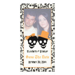 Elegant skulls Halloween wedding Save the Date Customised Photo Card