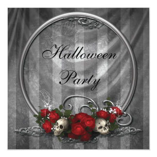 Elegant Skulls & Roses Halloween Party Invites