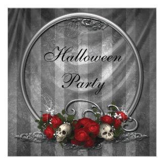 Elegant Skulls & Roses Halloween Party Invites