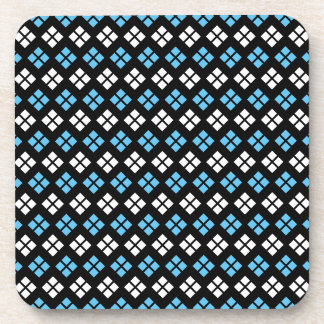 Elegant Sky Blue & White Argyle Pattern on Black Coaster