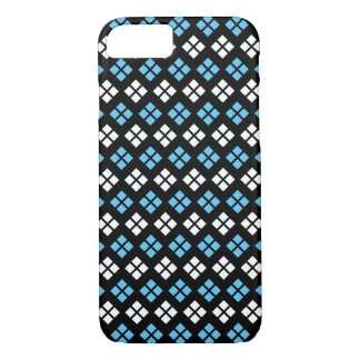 Elegant Sky Blue & White Argyle Pattern on Black iPhone 8/7 Case