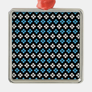 Elegant Sky Blue & White Argyle Pattern on Black Metal Ornament