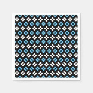 Elegant Sky Blue & White Argyle Pattern on Black Paper Napkin