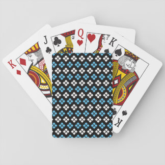 Elegant Sky Blue & White Argyle Pattern on Black Playing Cards
