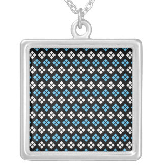 Elegant Sky Blue & White Argyle Pattern on Black Silver Plated Necklace
