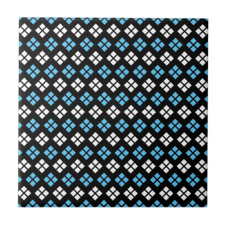 Elegant Sky Blue & White Argyle Pattern on Black Small Square Tile