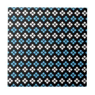 Elegant Sky Blue & White Argyle Pattern on Black Tile