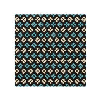 Elegant Sky Blue & White Argyle Pattern on Black Wood Print