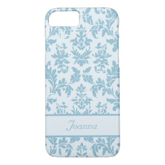 Elegant Slate Blue Damask Customized iPhone 7 Case