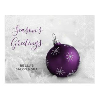 Elegant Snow Purple Ornament Business holiday Postcard