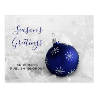 Elegant Snow Scene Navy Ornament Business holiday Postcard