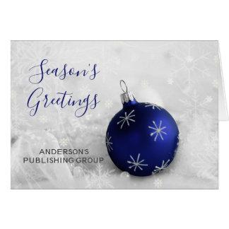 Elegant Snow Scene Navy Ornament Company Holiday Card