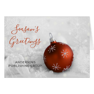 Elegant Snow Scene Orange Ornament Company Holiday Card