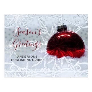 Elegant Snow Scene Red Ornament Business holiday Postcard