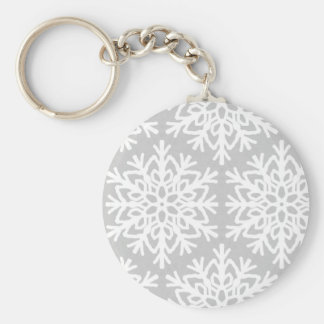 Elegant Snowflake Pattern Key Ring