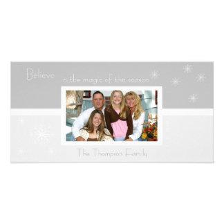 Elegant Snowflake Photo Card (silver)