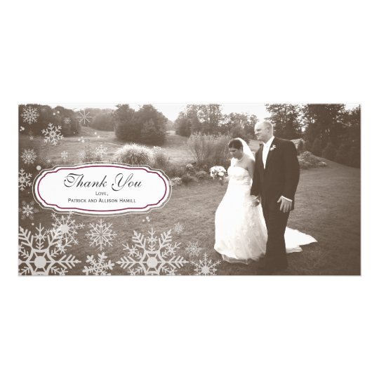 Elegant Snowflake Wedding Thank You Card