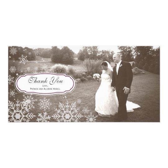 Elegant Snowflake Wedding Thank You Personalised Photo Card