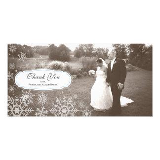Elegant Snowflake Wedding Thank You Photo Greeting Card