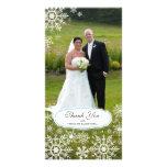 Elegant Snowflake Wedding Thank You Customised Photo Card