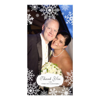 Elegant Snowflake Wedding Thank You Photo Cards
