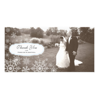 Elegant Snowflake Wedding Thank You Photo Greeting Card