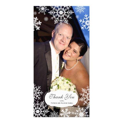 Elegant Snowflake Wedding Thank You Picture Card