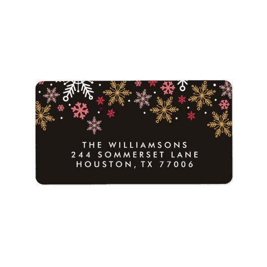 Elegant Snowflakes Personalised Holiday Labels