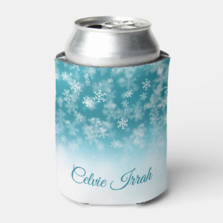 Elegant Snowflakes Personalized | Can Cooler