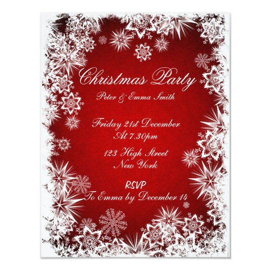 Elegant Snowflakes Red Party Invitation