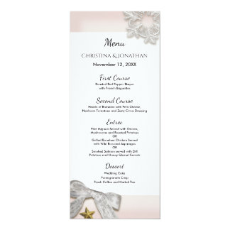 Elegant Snowflakes Winter Wedding Menu Card