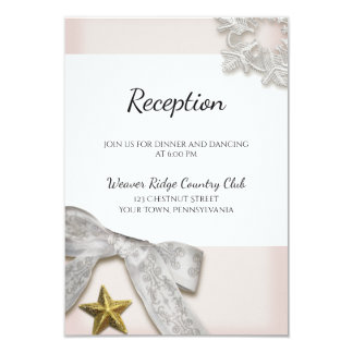 Elegant Snowflakes Winter Wedding Reception Card