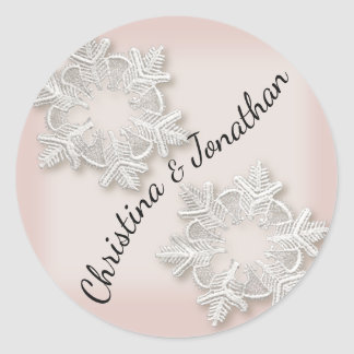 Elegant Snowflakes Winter Wedding Round Stickers