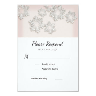 Elegant Snowflakes Winter Wedding RSVP Flat Card