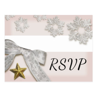 Elegant Snowflakes Winter Wedding RSVP Postcard