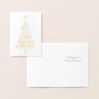 Elegant Snowflakes Xmas Tree  Gold Christmas Card