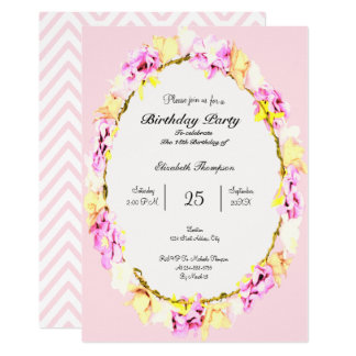 elegant soft flower floral Birthday Party card