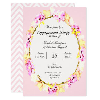 elegant soft flower floral Engagement Party card