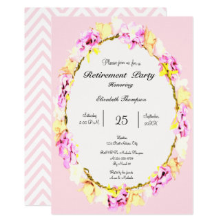 elegant soft flower floral Retirement Party card