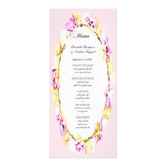 elegant soft flower floral wedding menu