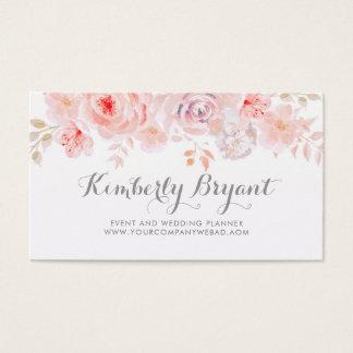 Elegant Soft Pink Floral   Watercolor Business Card