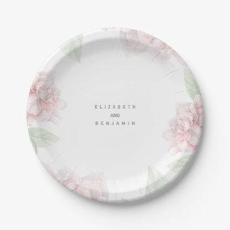 Elegant Soft Pink Floral Wreath Garden Wedding Paper Plate