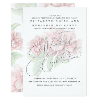 Elegant Soft Pink Peony Floral Typography Wedding Card